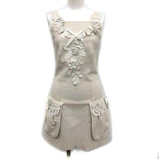 フェンディ(FENDI)のフェンディ ドレス ワンピース キャミワンピ ミニ 羊革 36 XS グレージュ(その他)