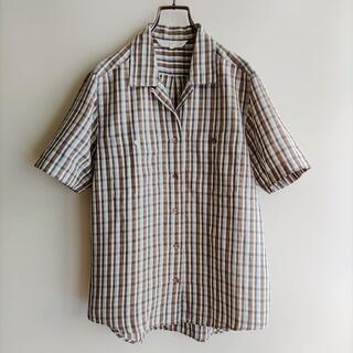 BURBERRY - BURBERRY シャツ 半袖 白×茶×黒×ベージュ バーバリー ビンテージ