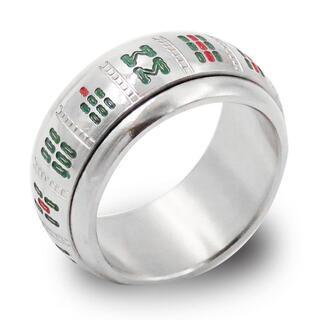指輪 メンズ リング 麻雀牌 九蓮宝燈 360度回転 ステンレス シルバー ◎(リング(指輪))