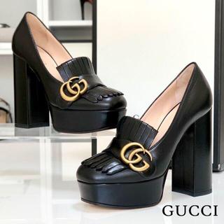 グッチ(Gucci)の2377 グッチ GGマーモント レザー パンプス 黒(ハイヒール/パンプス)