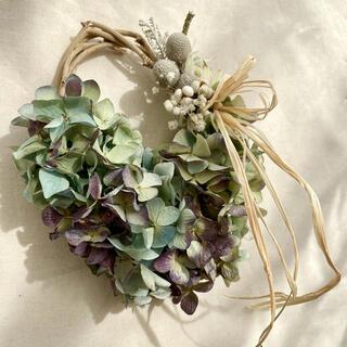 紫陽花のオーバルリース(ドライフラワー)