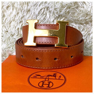 Hermes - HERMES Hベルト コンスタンス ゴールド バックル ブラウン レディース