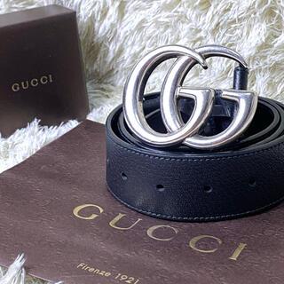 Gucci - 【美品】 GUCCI ベルト ダブルG GGマーモント レザー シルバー