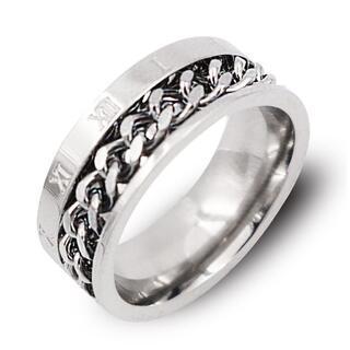 指輪 メンズ リング ローマ数字 シルバー 喜平チェーン ステンレス ◎(リング(指輪))