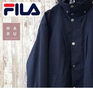 フィラ(FILA)のFILA フィラ マウンテンパーカー フルジップ ボタン ハイネック ネイビー(マウンテンパーカー)