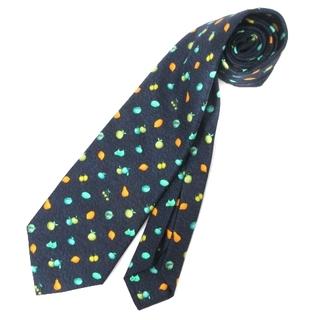 ブルガリ(BVLGARI)のブルガリ ネクタイ レギュラータイ 果物 総柄 シルク イタリア製 ネイビー 紺(ネクタイ)