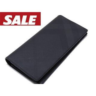 バーバリー(BURBERRY)のバーバリー 長財布 ☆ ブラック PVC加工 チェック 中ファスナー(長財布)