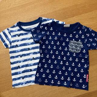 ユニクロ(UNIQLO)のユニクロミッキー他マリンTシャツ2枚セット80〜90サイズ(Tシャツ)