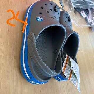 crocs - ラス3  24   グレー  ブルー クロックバンド