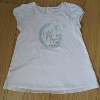 ジルスチュアートニューヨーク(JILLSTUART NEWYORK)のJILL STUART半袖Tシャツ110リボンラインストーン子供キッズ女の子(Tシャツ/カットソー)