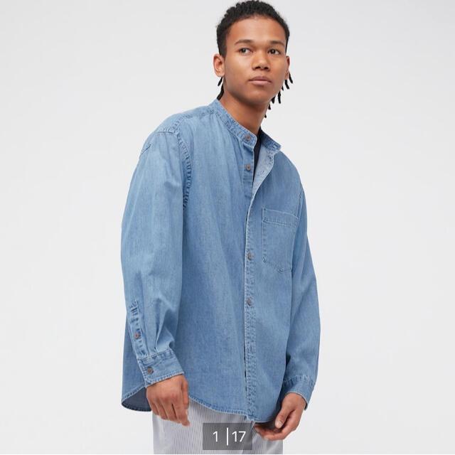 UNIQLO(ユニクロ)のデニムオーバーサイズスタンドカラーシャツ S メンズのトップス(シャツ)の商品写真