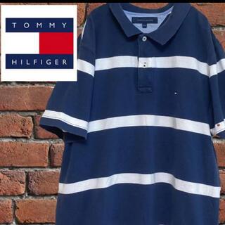 TOMMY HILFIGER - トミーフィルフィガー XL ポロシャツ ボーダー 刺繍ロゴ トリコロール 古着