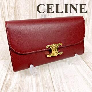 セリーヌ(celine)のセリーヌ 三つ折り財布 ミディアムウォレット トリオンフ ボルドー×ゴールド金具(財布)