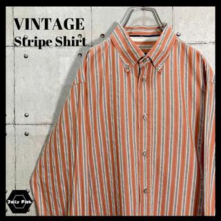アートヴィンテージ(ART VINTAGE)の【レアカラー】90's VINTAGE マルチカラー ストライプBDシャツ 長袖(シャツ)