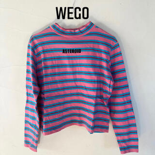 ウィゴー(WEGO)のWEGO  Tシャツ 長袖 ピンク ブルー ストライプ(Tシャツ(長袖/七分))