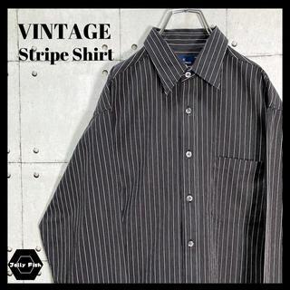 アートヴィンテージ(ART VINTAGE)の【レアカラー】90s VINTAGE ストライプシャツ 長袖 イタリア製 黒 L(シャツ)