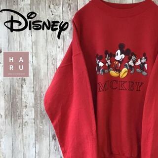 ディズニー(Disney)のディズニー ミッキーマウス スウェット トレーナー プリント ビック レッド(スウェット)