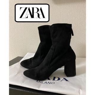 ザラ(ZARA)のZARA スウェード ストレッチ ショートブーツ 黒(ブーツ)
