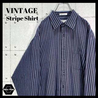 アートヴィンテージ(ART VINTAGE)の【人気】VINTAGE 長袖 ストライプシャツ ワントーンカラー 古着 XL(シャツ)