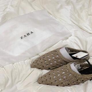 ザラ(ZARA)のZARA スプリットスエード仕上げ編み込みミュール(ミュール)