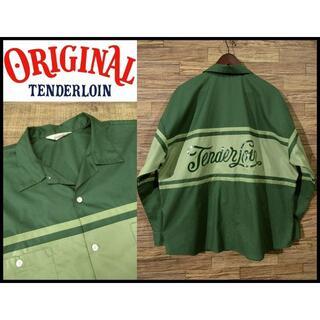 TENDERLOIN - XLサイズ 美品 テンダーロイン バック ロゴ オープンカラー ワーク シャツ