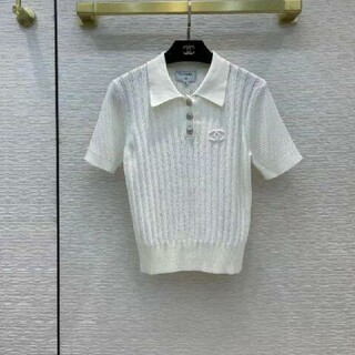 シャネル(CHANEL)のCHANEL  CC ロゴ 縦縞半袖セーター(ニット/セーター)