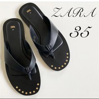 ザラ(ZARA)のZARA  レザーフラットサンダル 35(サンダル)