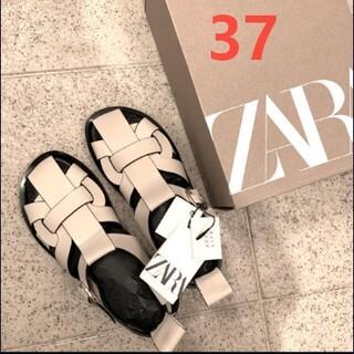 ザラ(ZARA)のZARA レザーフラットケージサンダル 37  37/23.5cm(サンダル)