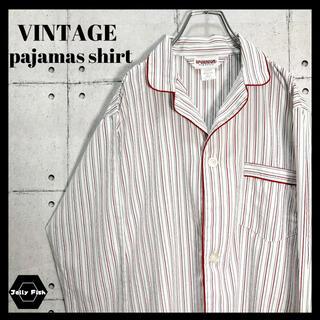 アートヴィンテージ(ART VINTAGE)の【レア】VINTAGE 長袖 ストライプ パジャマシャツ オープンカラー L(シャツ)