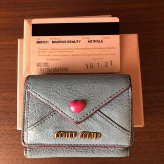 miumiu - miumiu  ハートレター三つ折り ミニ財布