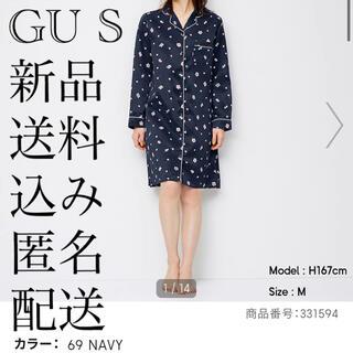 ジーユー(GU)の(80) 新品 GU S サテンパジャマワンピース(長袖)(サクラ)(パジャマ)