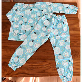 コンビミニ(Combi mini)の未使用 コンビミニ 薄手 ネル パジャマ 上下 水色 ネコ 120 軽くて暖かい(パジャマ)