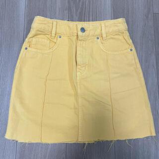エイチアンドエム(H&M)のH&M 黄色 イエロー膝丈スカート(ひざ丈スカート)