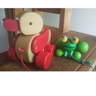 ボーネルンド(BorneLund)の木製おもちゃ  あひる  と  かえる(知育玩具)