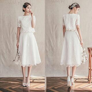 ラウンドネック Aライン ジッパー ショートスカート ウエディングドレス(ウェディングドレス)