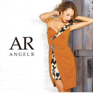 エンジェルアール(AngelR)のエンジェルアール アシンメトリースリットレースタイトミニドレステラコッタオレンジ(ナイトドレス)