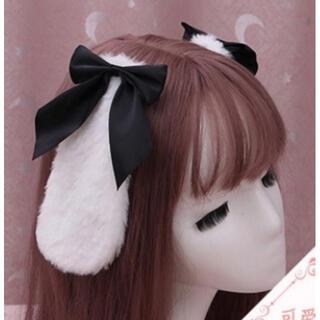 ウサギ 耳 うさ耳 ヘアアクセ ヘアピン 垂れ耳 黒 コスプレ 衣装 韓国(ヘアピン)