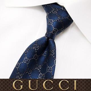 グッチ(Gucci)の52 GUCCI グッチ ネイビー SILK ネクタイ(ネクタイ)