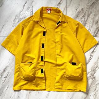 マルタンマルジェラ(Maison Martin Margiela)のvintage 90s usa製 ベルクロ 黄色 デザイン ナイロンシャツ(シャツ)
