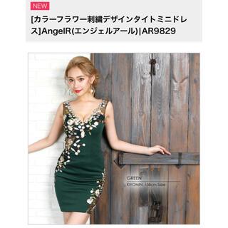 エンジェルアール(AngelR)のエンジェルアール カラーフラワー刺繍デザインタイトミニドレス グリーン(ナイトドレス)