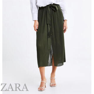 ザラ(ZARA)の未使用品 ZARA スカート パンツ プリーツ リボン(ロングスカート)