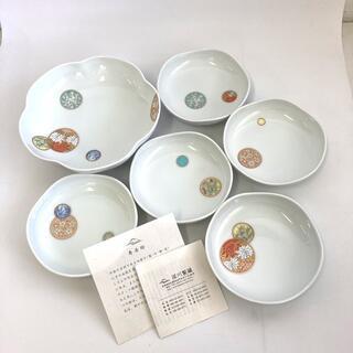 R273 深川製磁 寿赤絵 6号鉢 取皿セット 美品