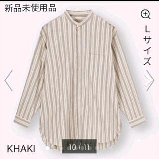 GU - 新品未使用品 ブロードオーバサイズバンドカラーシャツ KHAKI Lサイズ