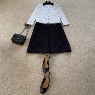 シャネル(CHANEL)のシャネルの上質でとても素敵なコットンツィードのスカート(ひざ丈スカート)