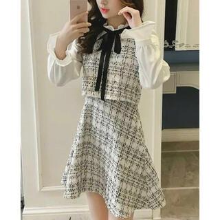 新品 チェック柄 ツイード素材 スカート デザイン 白 ジャンスカ風ワンピース(ひざ丈ワンピース)