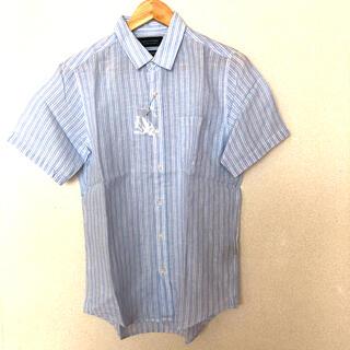 ナノユニバース(nano・universe)のナノユニバース×ハードマンズ リネンストライプ半袖シャツ 水色 M メンズ(シャツ)