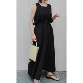 エンフォルド(ENFOLD)の新品 MACHATT 21ss ウエストデザインドレス 黒(ロングワンピース/マキシワンピース)