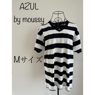 AZUL by moussy - 《新品》AZUL 半袖Tシャツ ボーダー M 白黒 アズールバイマウジー