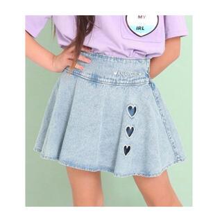 アナップキッズ(ANAP Kids)のANAP  GiRL ハート開きフレアインパン付スカート ライトブルー 150(パンツ/スパッツ)