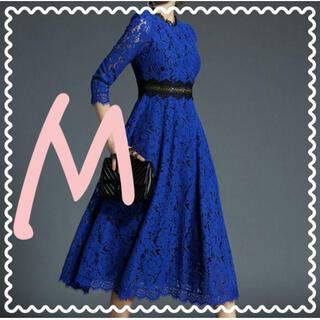 【お買い得】レースワンピース 花柄 シースルー 結婚式 二次会 七分袖 青 M(ロングドレス)